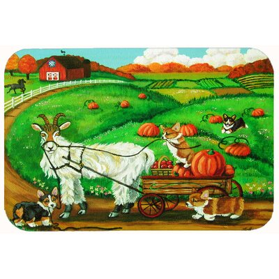 Corgi Pumpkin Ride with Goat Kitchen/Bath Mat Size: 24 W x 36 L