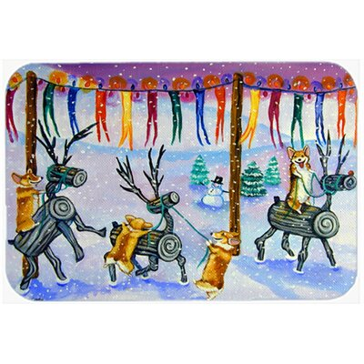 Corgi Log Reindeer Race Christmas Kitchen/Bath Mat Size: 24 W x 36 L