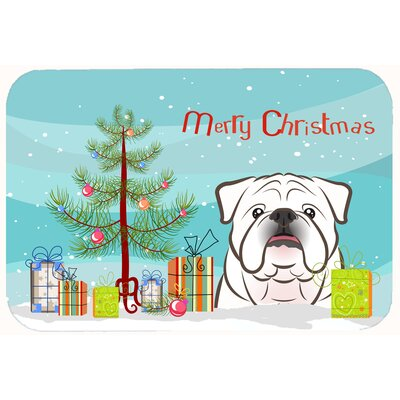 Christmas Tree and English Bulldog Kitchen/Bath Mat Size: 20 W x 30 L, Color: White