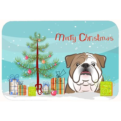 Christmas Tree and English Bulldog Kitchen/Bath Mat Size: 24 W x 36 L, Color: Brown