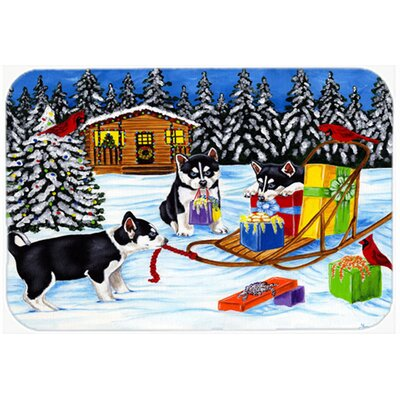 Christmas Mush Siberian Husky Kitchen/Bath Mat Size: 20 W x 30 L