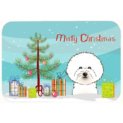 Christmas Tree and Bichon Frise Kitchen/Bath Mat Size: 24 W x 36 L
