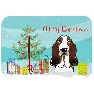 Christmas Tree and Basset Hound Kitchen/Bath Mat Size: 24 W x 36 L