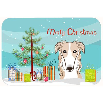 Christmas Tree and Borzoi Kitchen/Bath Mat Size: 20 W x 30 L