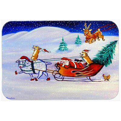 Corgi Highhacked Santa Claus Sleigh Kitchen/Bath Mat Size: 24 W x 36 L