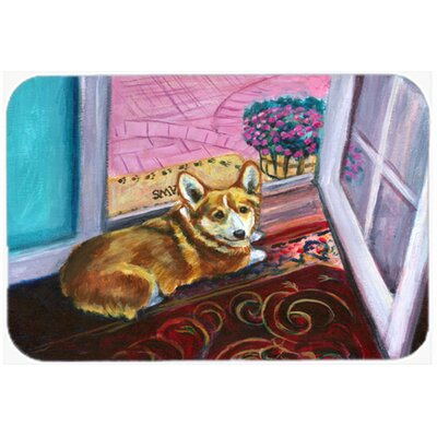 Corgi Watching from the Door Kitchen/Bath Mat Size: 20 W x 30 L