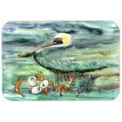 Watery Pelican, Shrimp, Crab and Oysters Kitchen/Bath Mat Size: 20 W x 30 L