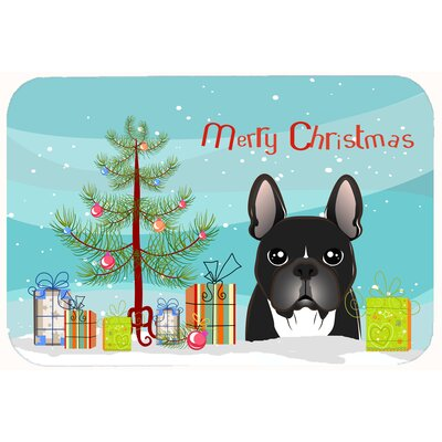 Christmas Tree and French Black Bulldog Kitchen/Bath Mat Size: 24 W x 36 L