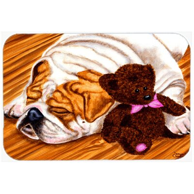 English Bulldog and Teddy Bear Kitchen/Bath Mat Size: 20 W x 30 L