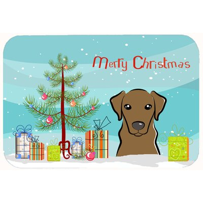 Christmas Tree and Labrador Kitchen/Bath Mat Size: 24 W x 36 L, Color: Chocolate