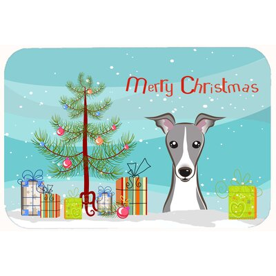 Christmas Tree and Italian Greyhound Kitchen/Bath Mat Size: 24 W x 36 L