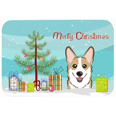Christmas Tree and Corgi Kitchen/Bath Mat Size: 24 W x 36 L, Color: Tan