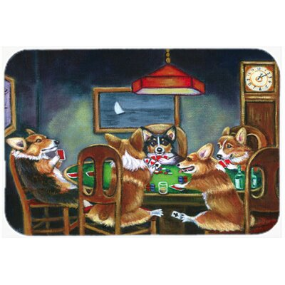 Corgi Playing Poker Kitchen/Bath Mat Size: 20