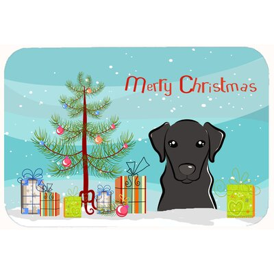 Christmas Tree and Labrador Kitchen/Bath Mat Size: 24 W x 36 L, Color: Black