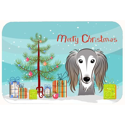 Christmas Tree and Saluki Kitchen/Bath Mat Size: 20 W x 30 L