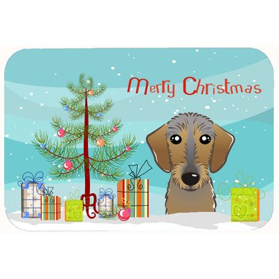 Christmas Tree and Wirehaired Dachshund Kitchen/Bath Mat Size: 24