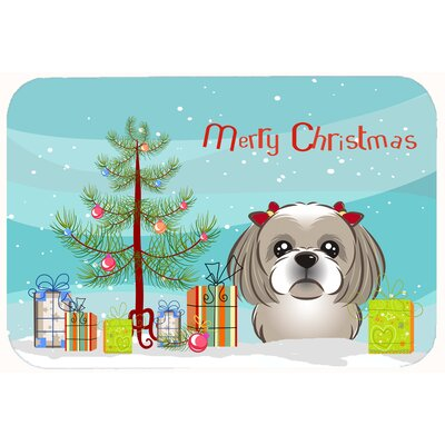 Christmas Tree and Shih Tzu Kitchen/Bath Mat Color: Gray/Silver, Size: 24 W x 36 L