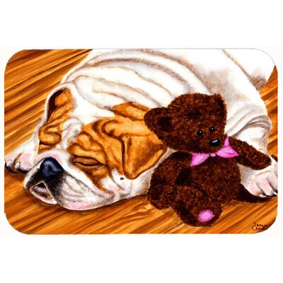 English Bulldog and Teddy Bear Kitchen/Bath Mat Size: 24 W x 36 L