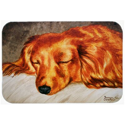 Longhaired Dachshund Kitchen/Bath Mat Size: 20 W x 30 L