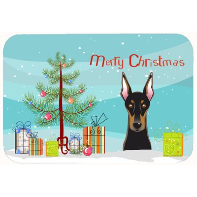 Christmas Tree and Doberman Kitchen/Bath Mat Size: 24 W x 36 L