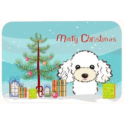 Christmas Tree and Poodle Kitchen/Bath Mat Color: White, Size: 24 W x 36 L