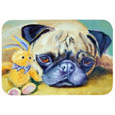 Pug Bunny Rabbit Kitchen/Bath Mat Size: 24 W x 36 L