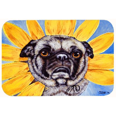 Sunflower Pug Kitchen/Bath Mat Size: 24 W x 36 L
