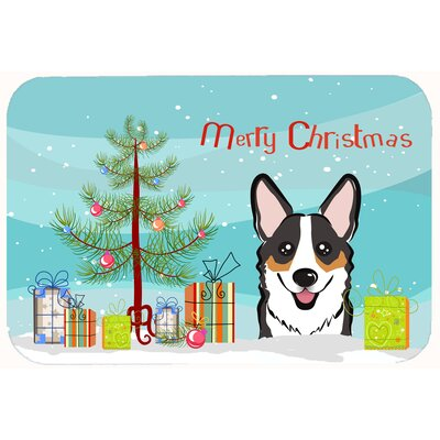 Christmas Tree and Corgi Kitchen/Bath Mat Size: 24 W x 36 L, Color: Black/Gray/Tan