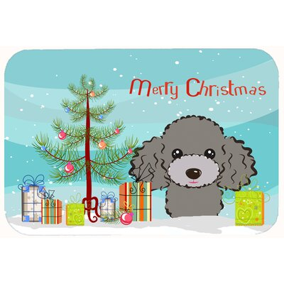 Christmas Tree and Poodle Kitchen/Bath Mat Size: 20 W x 30 L, Color: Silver/Gray