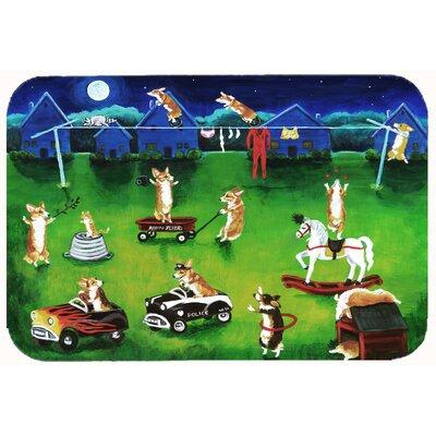 Corgi Backyard Circus Kitchen/Bath Mat Size: 24 W x 36 L