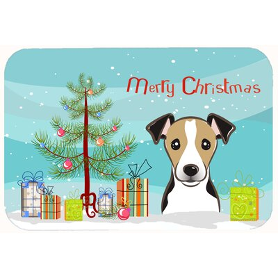 Christmas Tree and Jack Russell Terrier Kitchen/Bath Mat Size: 20 W x 30 L, Color: Black/Beige