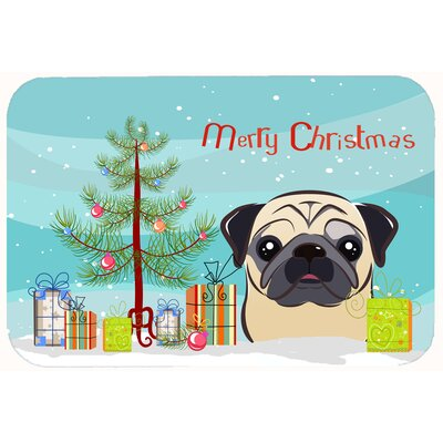 Christmas Tree and Pug Kitchen/Bath Mat Size: 24 W x 36 L, Color: Fawn