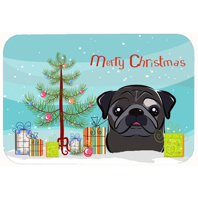 Christmas Tree and Pug Kitchen/Bath Mat Size: 24 W x 36 L, Color: Black