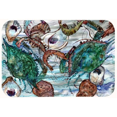 Shrimp, Crabs and Oysters in water Kitchen/Bath Mat Size: 24 W x 36 L