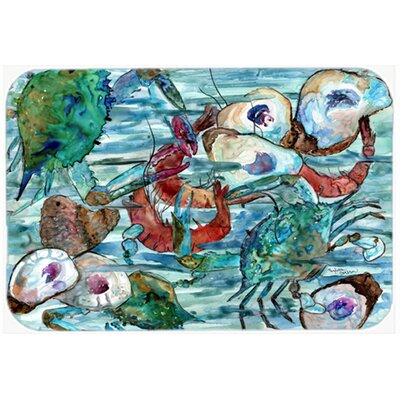 Watery Shrimp, Crabs and Oysters Kitchen/Bath Mat Size: 20 W x 30 L