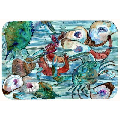 Watery Shrimp, Crabs and Oysters Kitchen/Bath Mat Size: 24 W x 36 L
