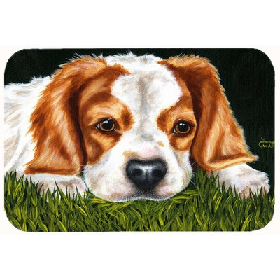 Cavalier Spaniel in the Grass Kitchen/Bath Mat Size: 24 W x 36 L
