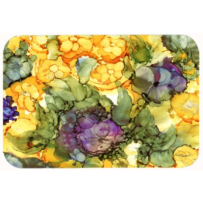 Abstract Flowers Kitchen/Bath Mat Size: 24 W x 36 L