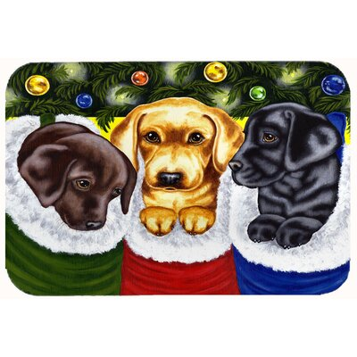 Christmas Stocking Surprise Labrador Kitchen/Bath Mat Size: 24 W x 36 L