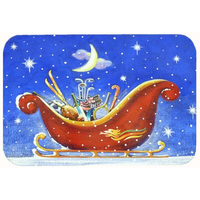 Christmas Santas Sleigh by Roy Avis Kitchen/Bath Mat Size: 24 W x 36 L