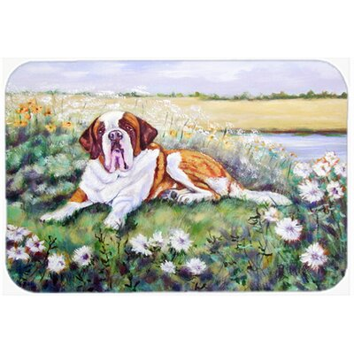 Saint Bernard in Flowers Kitchen/Bath Mat Size: 24 W x 36 L