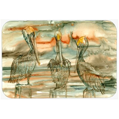 Pelicans on Their Perch Abstract Kitchen/Bath Mat Size: 20 W x 30 L