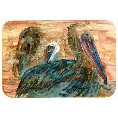 Abstract Pelicans Kitchen/Bath Mat Size: 24 W x 36 L