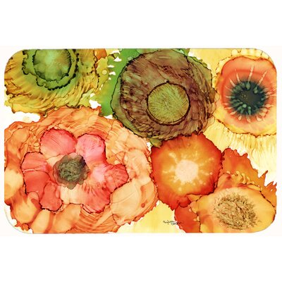 Abstract Flowers Blossoms Kitchen/Bath Mat Size: 24 W x 36 L