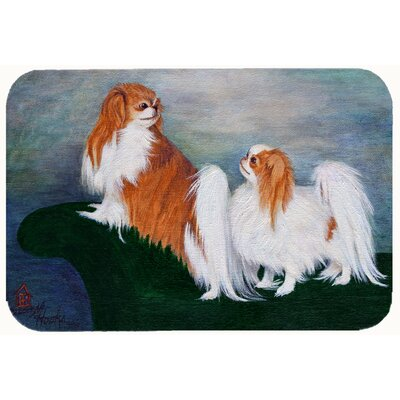 Japanese Chin Standing on My Tail Kitchen/Bath Mat Size: 24 W x 36 L
