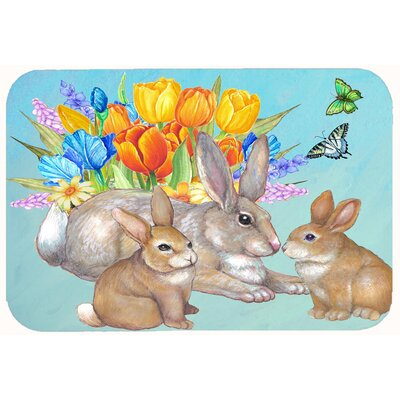 Bunny Family Easter Rabbit Kitchen/Bath Mat Size: 24 W x 36 L