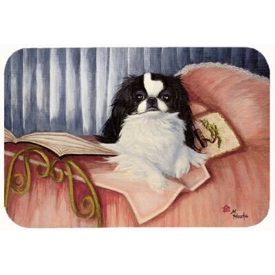 Japanese Chin Reading in Bed Kitchen/Bath Mat Size: 20 W x 30 L