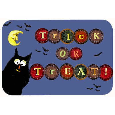 Trick or Treat Kitty Halloween Kitchen/Bath Mat Size: 20 W x 30 L