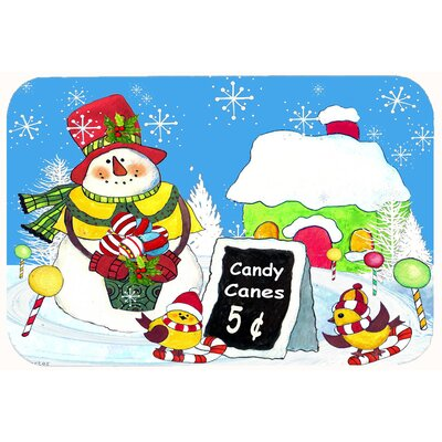 Candy Canes for Sale Snowman Kitchen/Bath Mat Size: 24 W x 36 L