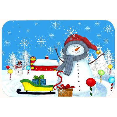 Snow Happens in the Meadow Snowman Kitchen/Bath Mat Size: 24 W x 36 L